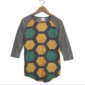 NWT LuLaRoe Randy Geometric Gray Raglan T-Shirt